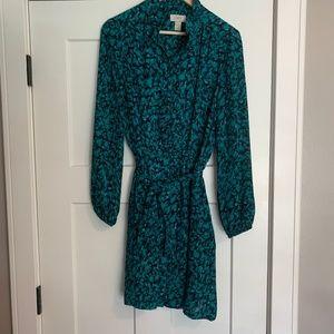 Loft Teal/Blue Button Down Dress Size 10